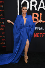 Jessica Pimentel turned heads in a bold-shouldered royal-blue gown by Michael Costello at the premiere of 'Orange is the New Black' season 7.