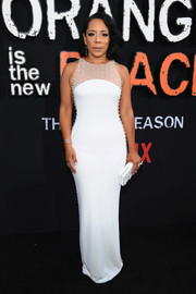 Selenis Leyva looked elegant in a form-fitting white gown by CD Green at the premiere of 'Orange is the New Black' season 7.