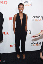 Samira Wiley looked subtly sexy at the New York premiere of 'Orange is the New Black' in a sleeveless jumpsuit with a down-to-there neckline.