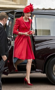 Kate Middleton worked an all-red look, consisting of Gianvito Rossi pumps and a Catherine Walker rewear, at the Order of the Garter service.