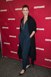 Bridget chose a cool retro-style belted jumpsuit for her evening look in NYC.