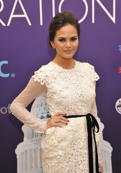 More Pics of Chrissy Teigen Bobby Pinned Updo (1 of 8) - Chrissy Teigen Lookbook - StyleBistro