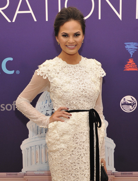 More Pics of Chrissy Teigen Bobby Pinned updo (7 of 8) - Updos Lookbook - StyleBistro
