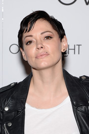 Rose McGowan wore a tomboy-chic hairstyle at the New York premiere of 'The Overnight.'