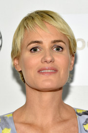 Judith Godreche wore her hair in a pixie cut at the Tribeca Film Festival premiere of 'The Overnight.'