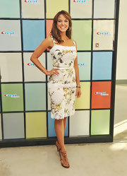 Eva la Rue paired tan strappy sandals with her floral frock for a chic finish at the P&G Oral Care launch.
