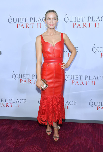 Emily Blunt was a style standout in a red leather dress with a lace hem at the world premiere of 'A Quiet Place Part II.'