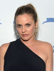 Alicia Silverstone opted for a casual ponytail when she attended PETA's 35th anniversary party.