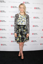 Taylor Schilling looked eclectic at the Peter Pilotto for Target launch in a dress from the brand that featured three different prints.