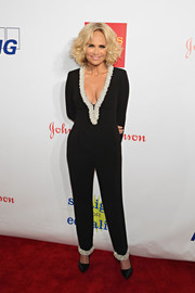 Kristin Chenoweth attended the Straight for Equality Awards Gala wearing a plunging black jumpsuit with pearl trim.