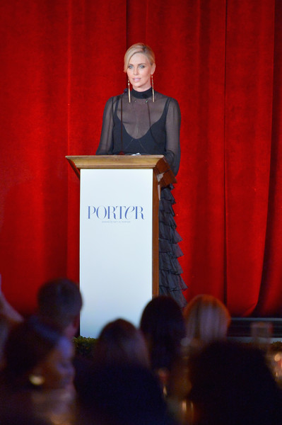 More Pics of Charlize Theron Twisted Bun (1 of 11) - Updos Lookbook - StyleBistro [public speaking,speech,orator,event,presentation,academic conference,spokesperson,lecture,technology,convention,charlize theron,ebell,porter incredible women gala,los angeles,california]