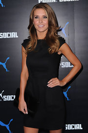 Audrina showed off her honey brown locks while hitting the PUMA Social Club launch.