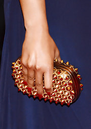 Nicki Minaj's gold studded clutch totally had a punk vibe!