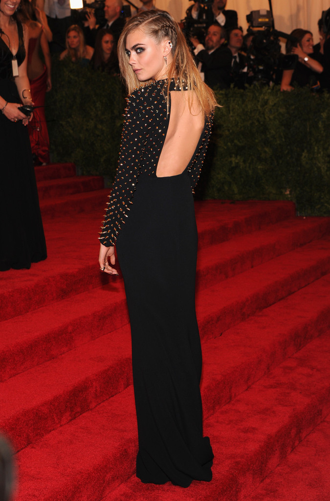 "Model Cara Delevingne attends the Costume Institute Gala for the ""PUNK: Chaos to Couture"" exhibition at the Metropolitan Museum of Art on May 6, 2013 in New York City."