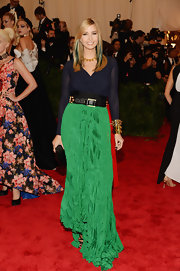 Ivanka Trump chose this navy and emerald green dress to show off her style at the 2013 Met Gala.