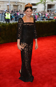 Tabitha Simmons chose a sheer black lace gown for her look at the Met Gala.
