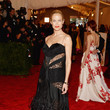Carolyn Murphy in Black Lace and Feathers