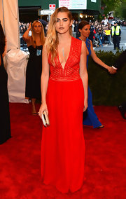 Teresa Palmer's red dress showed off just a bit of skin with its plunging V-neck!