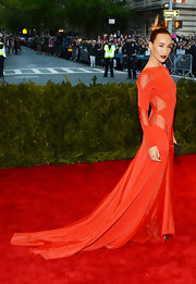 Maggie Q's flowing red gown looked totally lovely and chic on the red carpet of the 2013 Met Gala.