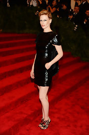 January Jones rocked a square-shoulder, encrusted LBD for her punk look at the Met Gala.