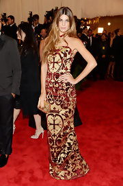Bianca Brandolini D'Adda chose a silk brocade gown to give her a cool punk-inspired look at the Met Gala.