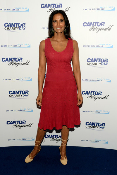 Padma Lakshmi Lace-Up Heels [cocktail dress,clothing,dress,shoulder,cobalt blue,fashion,hairstyle,electric blue,footwear,carpet,office - arrivals,padma lakshmi,tv personality,new york city,cantor fitzgerald,bgc,charity day]