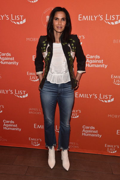 Padma Lakshmi Leather Jacket [emilys list pre-oscars brunch and panel,clothing,jeans,jacket,footwear,fashion,outerwear,leather,denim,textile,event,padma lakshmi,los angeles,california,emilys list pre-oscars brunch and panel]