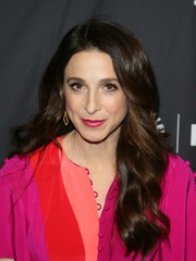 Marin Hinkle showed off a glamorous wavy 'do at the 2019 PaleyFest LA presentation of 'The Marvelous Mrs. Maisel.'