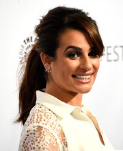 Lea Michele rocked a messy, teased ponytail when she attended PaleyFest LA.