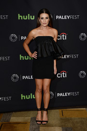 Lea Michele complemented her dress with black mesh ankle-cuff heels by Casadei.