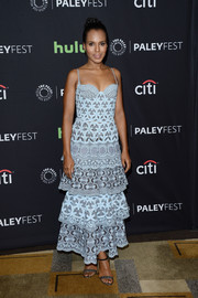 Kerry Washington tied her look together with silver and black ankle-strap heels.