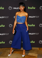 Keke Palmer matched her top with blue culottes by Tracy Reese.