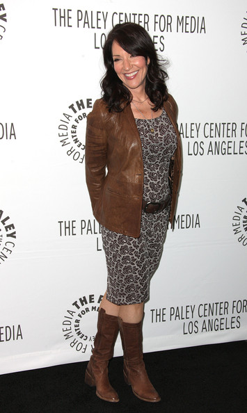 Katey Sagal went for a neutral chic look with a brown leather jacket, print sheath, and leather boots at the 2012 PaleyFest.