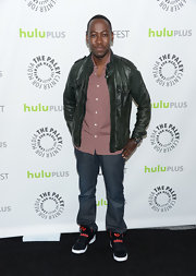 Lamorne Morris sported a green leather jacket for a new take on an old classic.