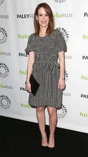 Sarah Paulson opted for a black and white gingham print dress with puffy sleeves for her look at PaleyFest.