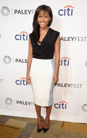 Nicole Beharie was casual yet sophisticated in a black Robert Rodriguez cowl-neck top during PaleyFest.