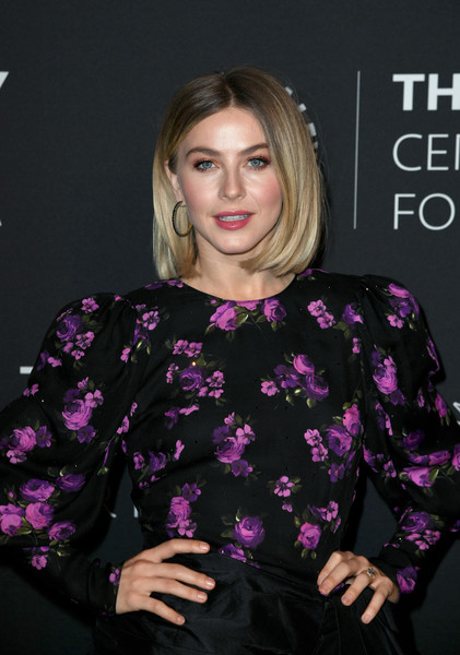 More Pics of Julianne Hough Gemstone Hoops (3 of 18) - Hoop Earrings Lookbook - StyleBistro [paley center for media presents: an evening with derek hough,the paley center for media presents,hair,clothing,hairstyle,purple,pink,blond,lip,magenta,premiere,dress,beverly hills,california,the paley center for media,julianne hough,julianne hough - arrivals,derek hough]