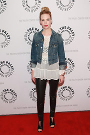 January chose this cream blouse with a sheer lace neckline for her look at the 'Mad Men' screening at the Paley Center.