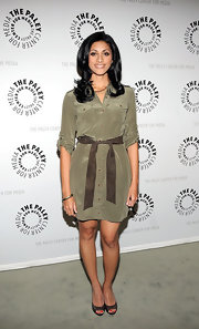 Reshma Shetty attended the 'Royal Pains' event looking smart in a taupe shirtdress and brown peep-toes.