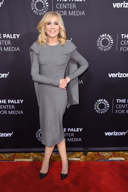 Judith Light gave us superhero vibes with this caped gray midi dress at the Paley Honors: Celebrating Women in Television event.