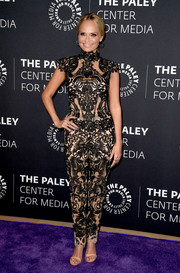 Kristin Chenoweth looked ageless in a sheer, patterned jumpsuit at PaleyLive LA.