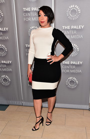 Selenis Leyva was sporty-chic at the PaleyLive LA 'Orange is the New Black' event in this black-and-white Shiskina pullover by Escada.
