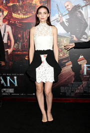 Rooney Mara went for ultra-girly appeal at the 'Pan' New York premiere in a white Giambattista Valli Couture lace dress with black mullet peplum detailing.