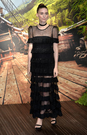 Rooney Mara got all frilled up in a tiered black Givenchy Couture gown for the world premiere of 'Pan.'