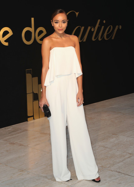 Ashley Madekwe was all about easy sophistication in a strapless, layered jumpsuit by Halston Heritage at the Panthere De Cartier party.
