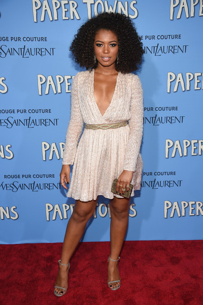 For the New York premiere of 'Paper Towns,' Jaz Sinclair chose a long-sleeve white Blumarine dress that showcased her cleavage and legs.
