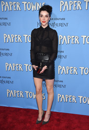 Annie Clark was sexy-goth in a sheer black Saint Laurent button-down (with a bondage-chic bra showing through) during the New York premiere of 'Paper Towns.'