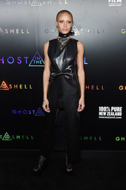 Adwoa Aboah worked a bowed black leather dress with a high-low hem at the premiere of 'Ghost in the Shell.'
