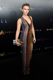 Scarlett Johansson cut a shapely silhouette in this beaded, striped gown by Balmain at the premiere of 'Ghost in the Shell.'