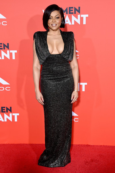Taraji P. Henson flaunted major cleavage in this micro-beaded black column dress by Ralph & Russo Couture at the premiere of 'What Men Want.'